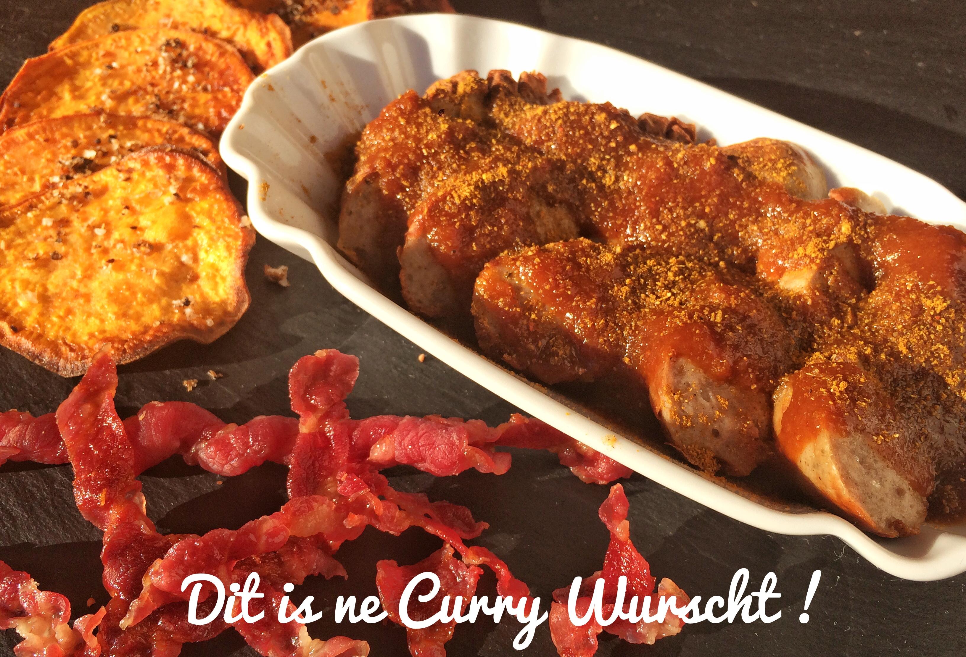 Currywurst, Süßkartoffelchips, selbstgemachte Sauce!