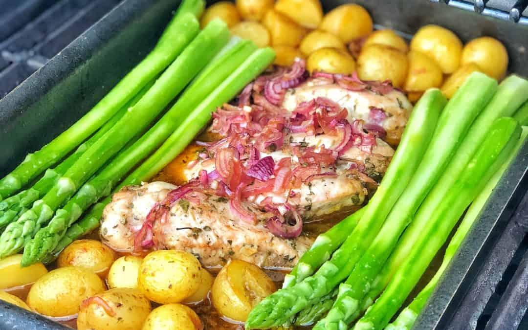 Saftige Hähnchenbrust mit Spargel und Kartoffeln